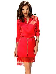 Women's Charming Red Long Sleeve Shirt Dress with Waist Chain