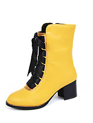 Women's Boots Spring Fall Winter Comfort Ankle Strap PU Office & Career Casual Athletic Chunky Heel Ribbon Tie ZipperBlack Yellow Red