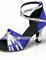 Women's Dance Shoes Satin Satin Latin High Heels Chunky Heel Practice / Beginner / Professional / IndoorBlack / Blue /
