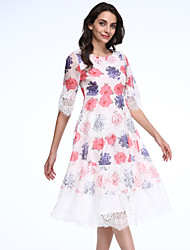 Women's Going out / Holiday Cute Lace / Chiffon Dress,Floral Round Neck Knee-length ½ Length Sleeve Pink Cotton / PolyesterSpring /