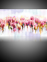 IARTS Unframed Wall Art Canvas Watercolor Style Paintings Floral Oil Paintings Pink Tulip Flower Canvas Art Home Decor Wall 50Hx120cm (20x48 inches)