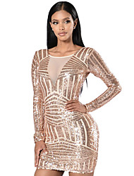 Women's Rose Nude Open Back Long Sleeve Sequin Dress