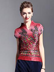 Mujer Vintage Casual/Diario Verano Camiseta,Escote Chino Estampado Manga Corta Poliéster Azul Rojo Marrón