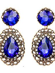 Brincos Compridos Safira Vintage Vitoriano Jóias da indicação Gema Cristal imitação de diamante Caído Azul Escuro Jóias ParaCasamento