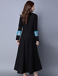 Original design new women's national wind Slim long-sleeved long coat dress sandwich