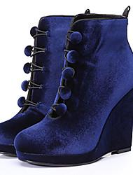 Feminino-Botas-Outro-Anabela-Preto Vinho Azul Real-Veludo-Social Casual Festas & Noite