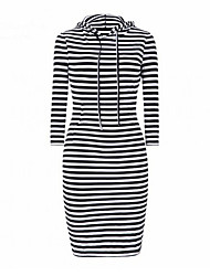 Women's Going out Casual/Daily Simple Shift Dress,Striped Round Neck Above Knee Long Sleeve Black Cotton Spring Fall Mid Rise