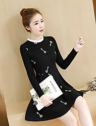 The new winter thick woolen dress Winter Women stand-up collar long-sleeved dress bottoming winter woolen skirt