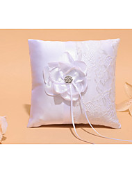 White 1 Ribbons Rhinestones Petals Satin Lace