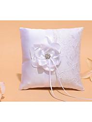 Weiß 1 Schleifen Kristallsteine Blütenblätter Satin Spitze
