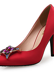Women's Heels Others Novelty Leather Silk Wedding Dress Party & Evening Stiletto Heel Rhinestone Crystal Sparkling Glitter Black Red White