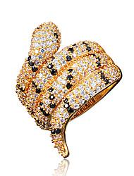 India Style Snake Shape 18K Gold Statement Ring