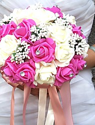 Wedding Flowers Round Roses Bouquets Wedding Party/ Evening Satin Bead Foam Rhinestone