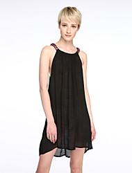 Ample Robe Aux femmes Plage simple / Chic de Rue,Couleur Pleine Col Arrondi Mini Sans Manches Noir Polyester Eté