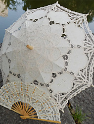Vintage Handmade Battenburg Embroidery Wedding Umbrella Princess Parasols One Set (Bridal Parasol + Hand Fan)