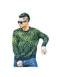 Men's Casual/Daily Simple Regular Cashmere,Geometric Green Round Neck Long Sleeve Acrylic Fall Medium Micro-elastic