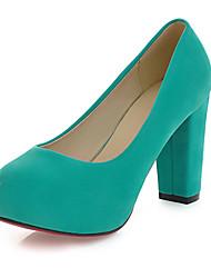 Feminino-Saltos-Sapatos com Bolsa Combinando-Salto Grosso-Preto / Azul / Verde / Vermelho / Amêndoa-Courino-Escritório & Trabalho /