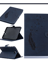Samsung T580 TABLET TABLET Pull Protective Sleeve Samsung Crazy Horse Embossed Leather Flat Bird Feathers