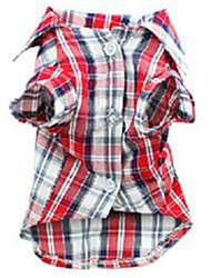 Hunde T-shirt Rot Hundekleidung Sommer / Frühling/Herbst Plaid/Karomuster Lässig/Alltäglich