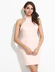 Moulante Robe Femme Soirée Sexy,Couleur Pleine Licou Mini Sans Manches Rose / Noir Polyester / Spandex Eté Taille Haute Elastique Fin