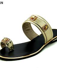 Women's Sandals Spring Summer Fall Mary Jane PU Dress Casual Low Heel Rhinestone Buckle Silver Gold Navy Orange