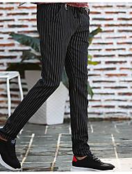 Hombre chinoiserie Tiro Medio Microelástico Chinos Pantalones,Pitillo A Rayas