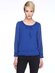 Women's Solid Blue / Red / Black Blouse , Round Neck Long SleevePlus Size