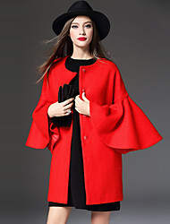 WEIWEIMEI  Women's Casual/Daily Simple CoatSolid Round Neck Long Sleeve Winter Red Wool / Polyester