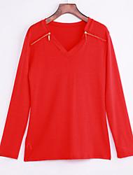 Damen Solide Einfach / Street Schick Lässig/Alltäglich T-shirt,V-Ausschnitt Frühling / Herbst Langarm Rot Polyester Mittel
