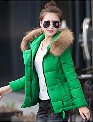Women's Solid Blue / Red / White / Black / Green Down Coat,Simple / Cute / Street chic Hooded Long Sleeve