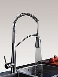 New Arrival Pull-down Table Top Pullout Spray with  Ceramic Valve Single Handle One Hole for  Nickel Brushed , Kitchen