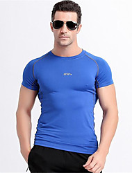 Running Tops Men's Short Sleeve Breathable / Quick Dry / Wearable / Comfortable LYCRA®Exercise & Fitness / Racing / Basketball /
