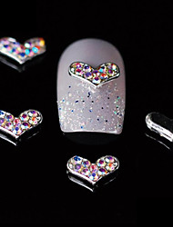 10pcs Colorful Rhinestone Heart 3D Alloy Nail Design  DIY Nail Art Decoration