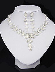 Jewelry Set Imitation Pearl Rhinestone Pearl Crystal Imitation Pearl Alloy Leaf White Party Daily 1set 1 Necklace 1 Pair of Earrings
