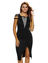 Women's Strappy Cap Sleeves Jewel Accent Black Midi Dress