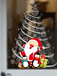 The New Christmas Store Windows Glass Decorative Wall Stickers Santa Claus Christmas Tree 60*90Cm