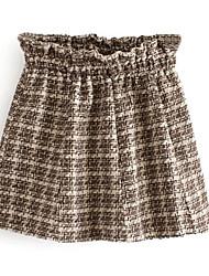 Damen Röcke,Schaukel HahnentrittmusterLässig/Alltäglich Mittlere Hüfthöhe Mini Elastizität Leinen Micro-elastisch Herbst Winter