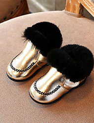 Girl's Boots Winter Comfort PU Casual Flat Heel Black Gold
