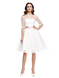 A-line Wedding Dress Knee-length Bateau Tulle with Sash / Ribbon