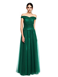 Formal Evening Dress A-line Off-the-shoulder Floor-length Tulle / Stretch Satin with Pleats