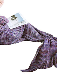 Women Super Cozy Warm Knitted Mermaid Tail Blanket Sofa Blanket Sleeping Bags 100% Quality Acrylic Material in Light Purple Color (190cm*80cm)