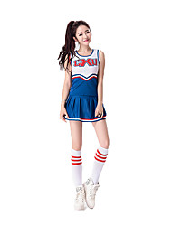 Women Sexy Football Cheerleader Uniform High School Cheering Squad Costumes Solid Top / Skirt / Handball