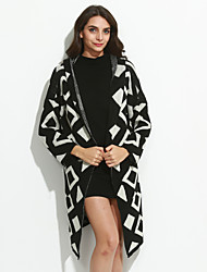 Women's Casual/Daily Street chic Long Cardigan Print Loose Large Size Hooded Long Sleeve  Medium Micro-elastic