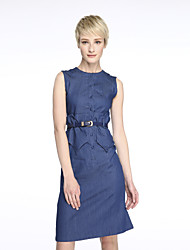 Women's Ruffle Going out Street chic Shift Dress,Solid Round Neck Midi Sleeveless Blue Cotton Summer