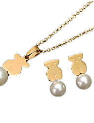 Women's Jewelry Set Pearl Costume Jewelry Pearl Animal Shape Bear 1 Necklace 1 Pair of Earrings For Daily Wedding Gifts
