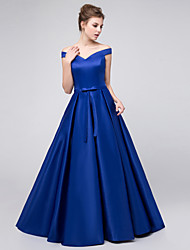 Floor-length Satin Beautiful Back / Sexy Bridesmaid Dress - Ball Gown Off-the-shoulder with Sash / Ribbon