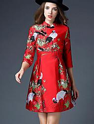 Feminino Evasê Vestido, Para Noite Fofo Estampa Animal Colarinho Chinês Acima do Joelho Manga ¾ Vermelho Poliéster Outono Cintura Alta