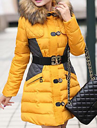 Manteau Doudoune Femme,Longue simple Chic de Rue Sortie Décontracté / Quotidien Couleur Pleine Mosaïque-Cachemire Polyester NylonSans