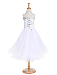 2017 Ball Gown Tea-length Flower Girl Dress - Organza Sleeveless Sweetheart with Beading / Draping / Bandage