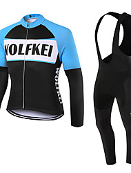 WOLFKEI Spring/Summer/Autumn Long Sleeve Cycling JerseyLong Bib Tights Ropa Ciclismo Cycling Clothing Suits #WK69